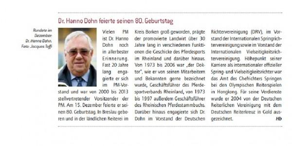 Dr. Hanno Dohn feiert 80. Geburtstag